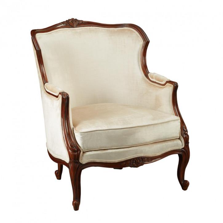 """Französischer Ohrensessel Vintage Sessel """"Jayne"""" mit weißem Stoff aus Holz"""