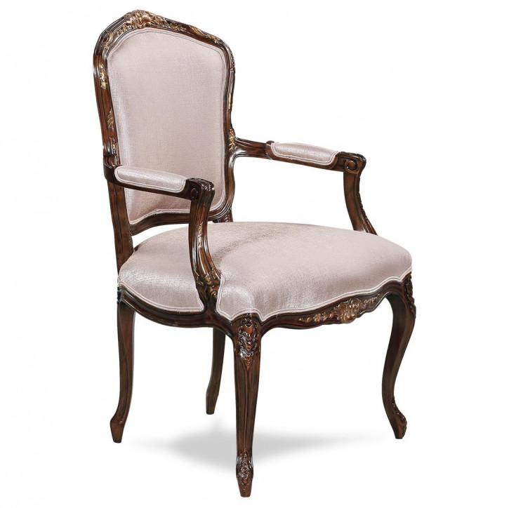 Vintage Stuhl Louis XV Dekostuhl mit weißem Stoff aus Holz