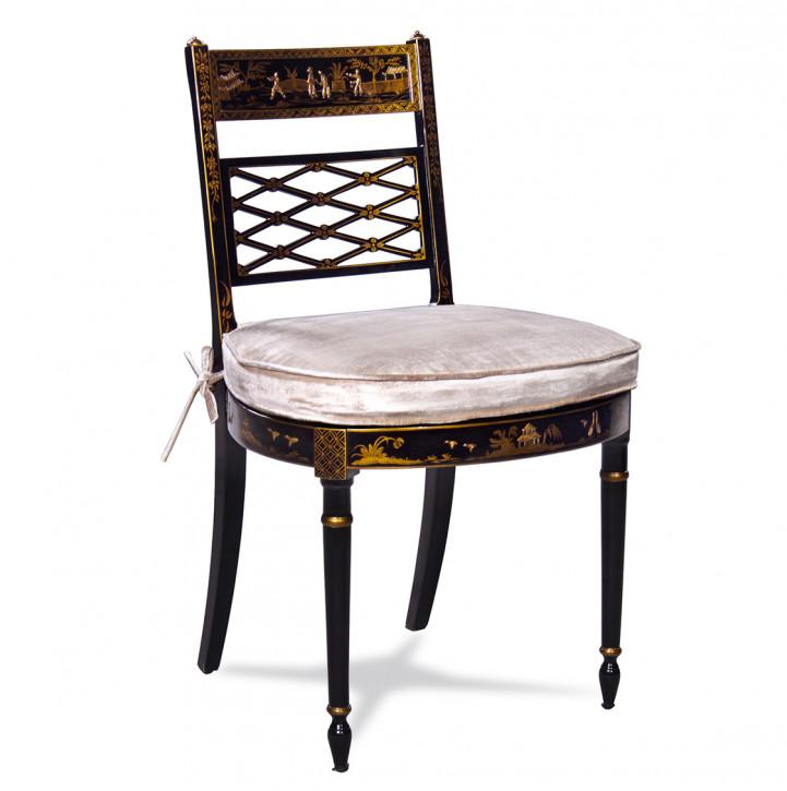 Beistellstuhl mit weißem Kissen und edler Verzierung Dekostuhl Stuhl Esszimmerstuhl