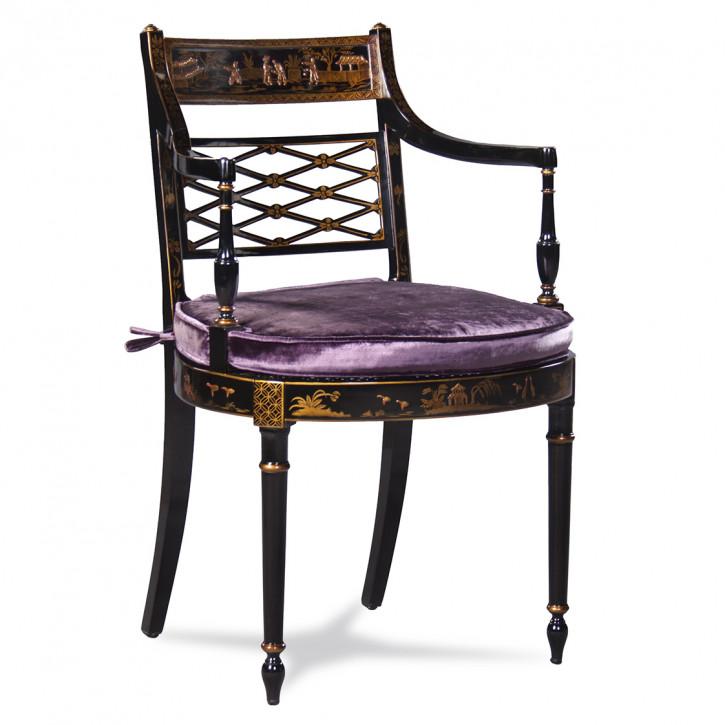 Edler aufwendig verzierter Stuhl in schwarz mit goldenen Details und violettem Sitzkissen Dekostuhl Beistellstuhl