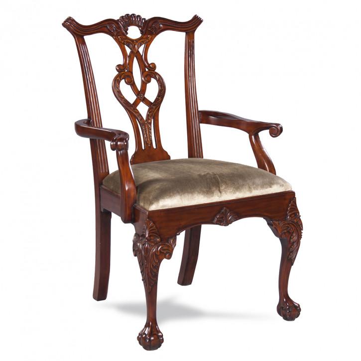 Chippendale Stuhl mit Lehne aus Holz Holzstuhl mit Sitzkissen Antik-Stil