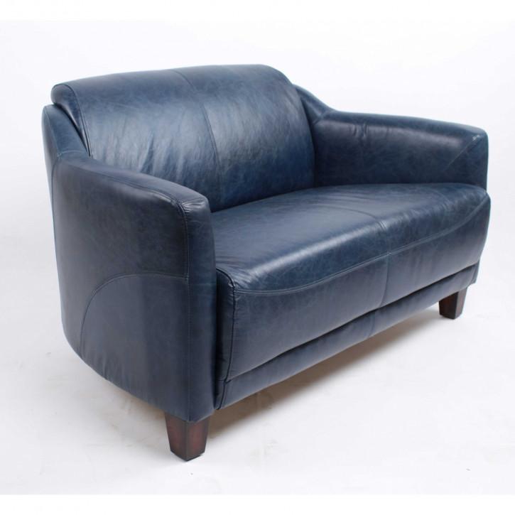 """Ledersofa Retro Sofa Echtleder """"Gentleman's Blue Sofa"""""""