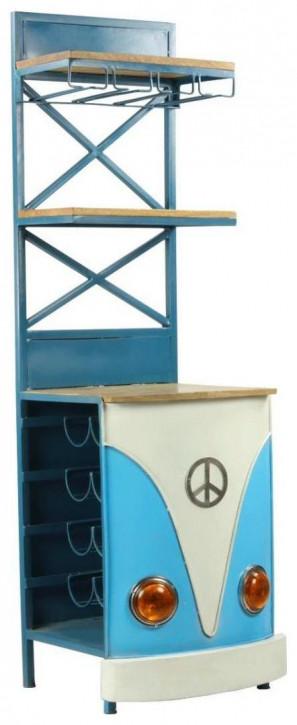 """""""Little Baxter Blue"""" Regaltheke aus Massivholz und Metallelementen im Retro Stil"""