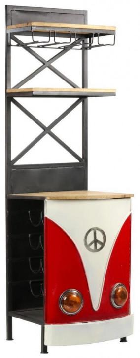 """""""Little Baxter Red"""" Regaltheke aus Massivholz und robusten Metallelementen im Retro Stil"""