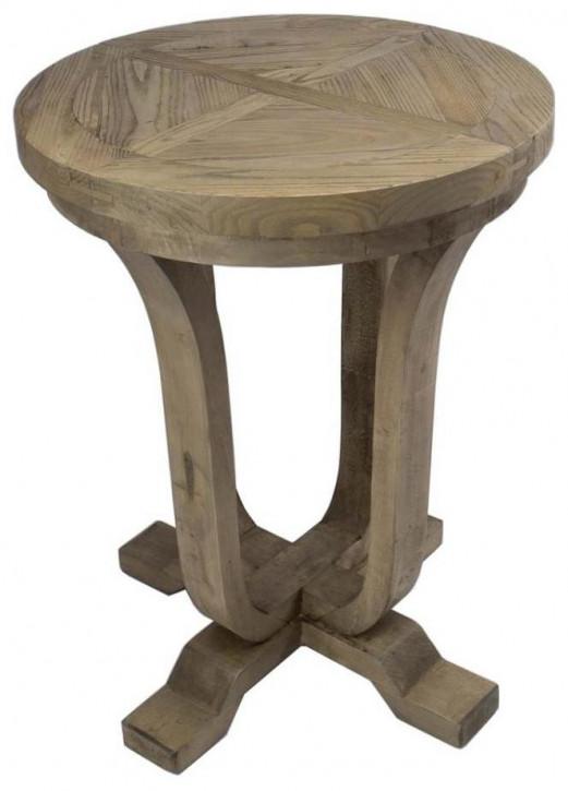 Rustikaler Massivholz Beistelltisch 60 cm ∅, Ulme