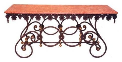 Art nouveau Stil Esstisch aus Eisen und Marmor