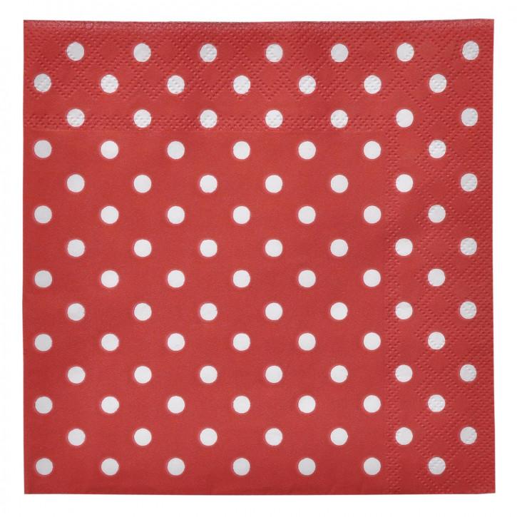 20 Papierservietten 33 x 33 cm Rot mit weißen Punkten