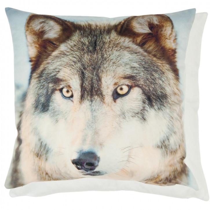Kissenhülle Wolf weiß ca. 45 x 45 cm