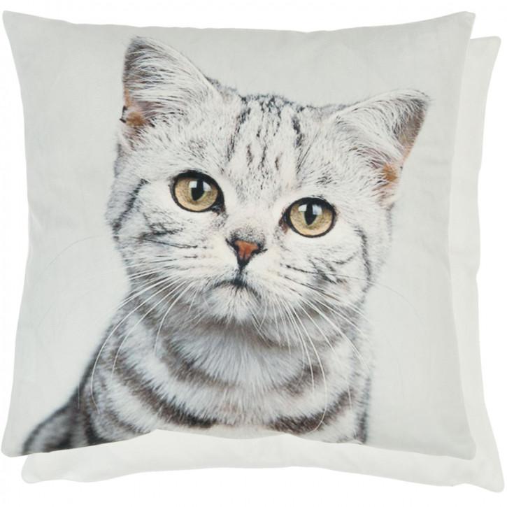 Kissenhülle Katze weiß ca. 45 x 45 cm