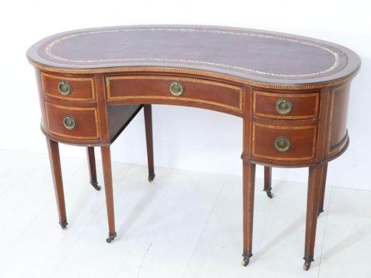 Eleganter antiker Kidney Desk / Ladies Desk aus England, Mahagoni, ca. 1900