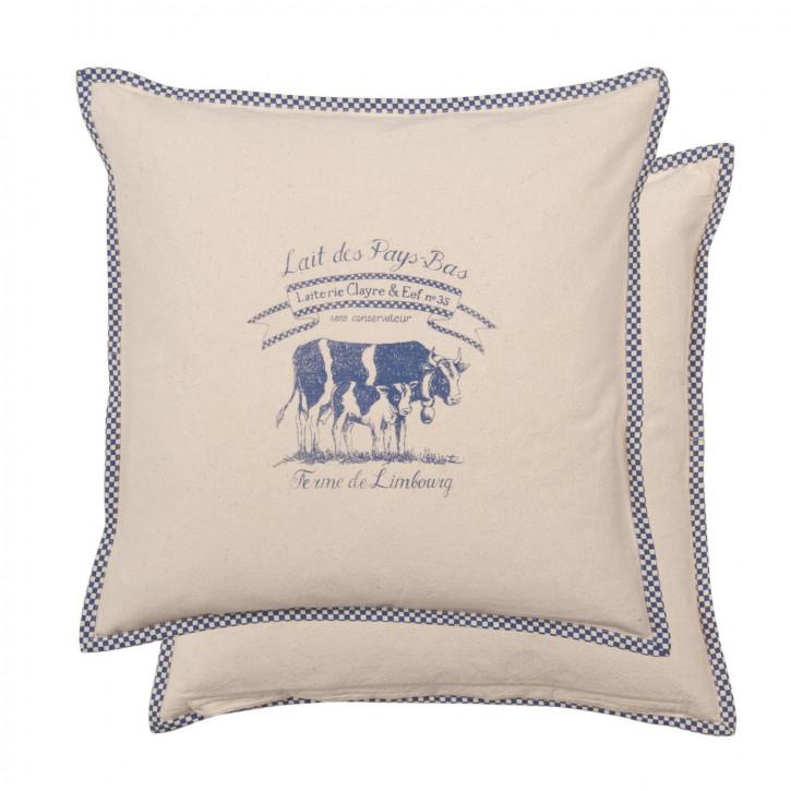Lait De Vache Kissenbezug Kissenhülle Kissen blau ca. 40 x 40 cm