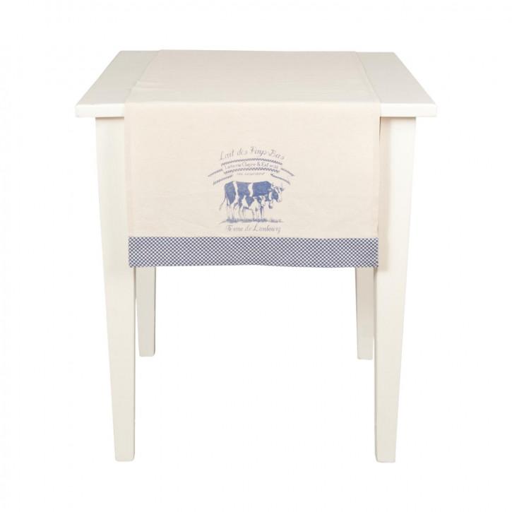 Lait De Vache Tischläufer Tischdecke blau ca. 50 x 140 cm