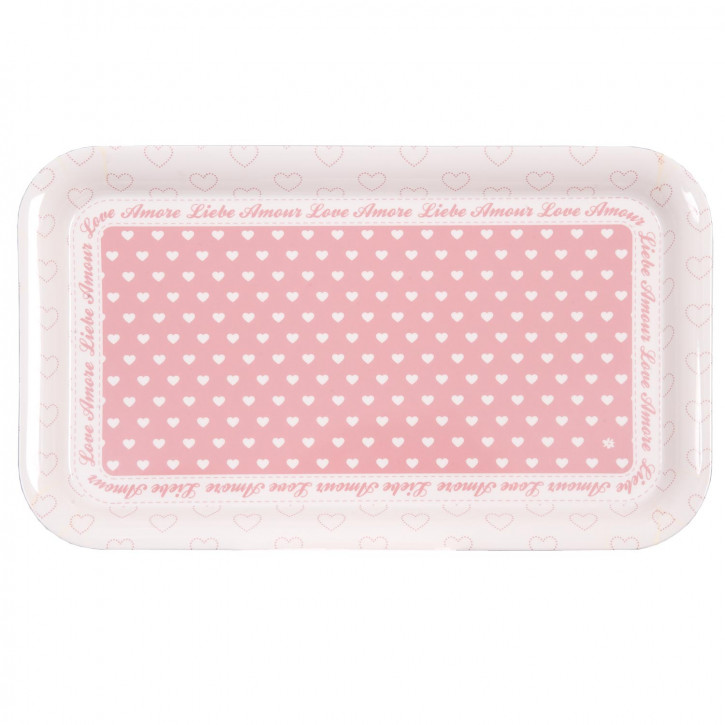 Tablett klein mit rosa Herzen 31*18cm