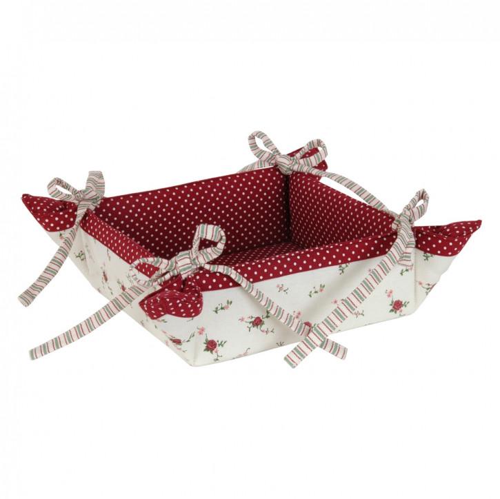 Brotkorb La Petite Rose eckig mit Schleifen, in rot/weiß