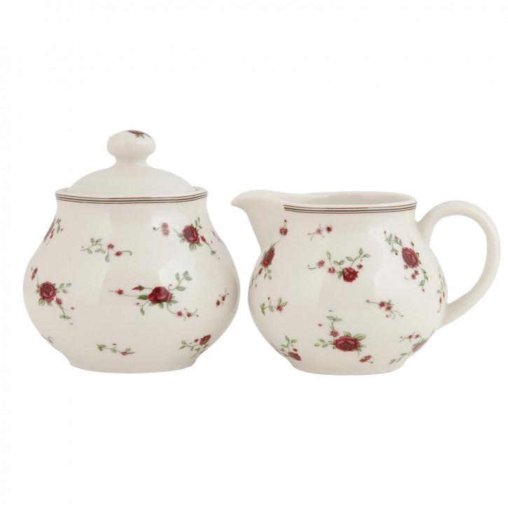 Milchgießer & Zuckerdose mit süßem Blumenmuster La Petite Rose