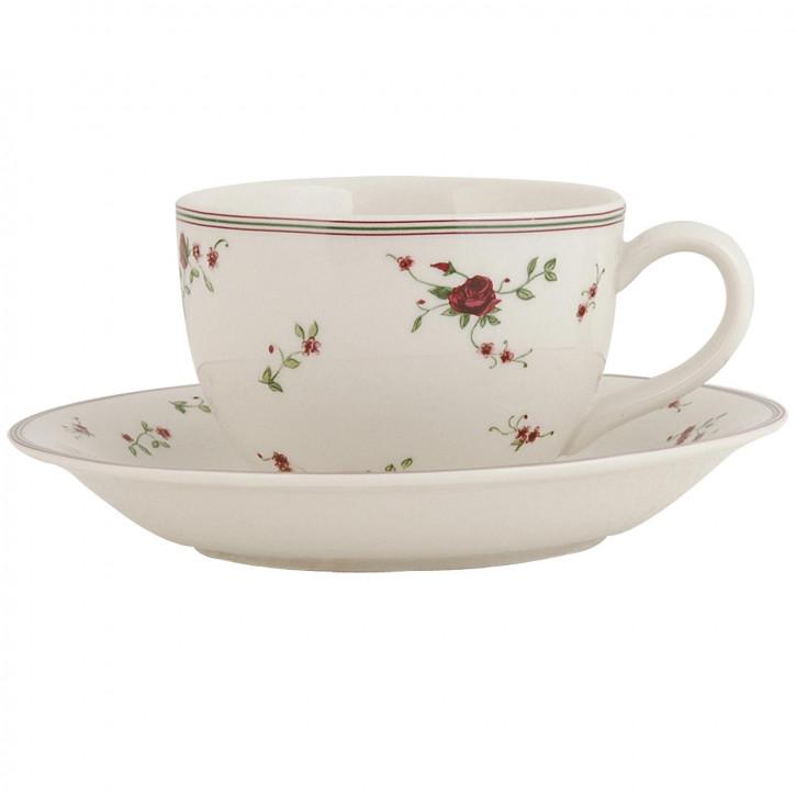 Schöne Kaffeetasse mit Untertasse La Petite Rose 0,20L