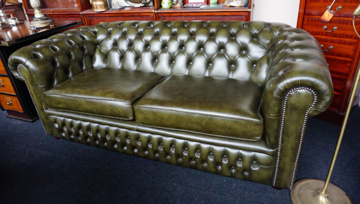 "Chesterfield Sofa Original ""London Classic"" Anilinleder Zweisitzer"