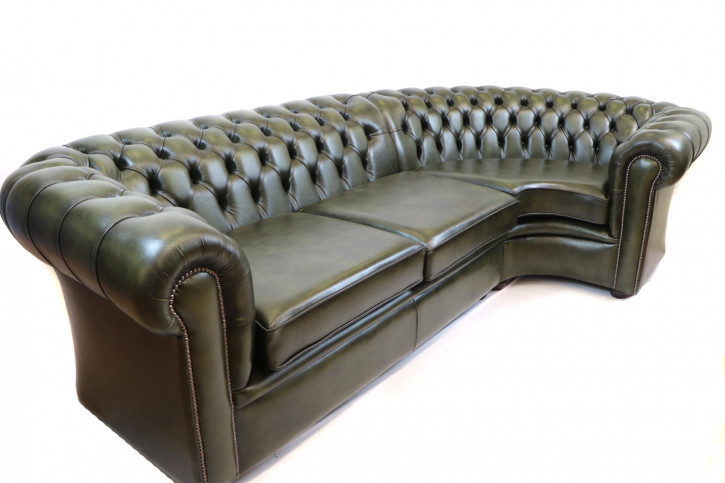 """London classic"" Chesterfield Ecksofa 280 x 150 cm Birch Antique Olive Sofort Lieferbar"