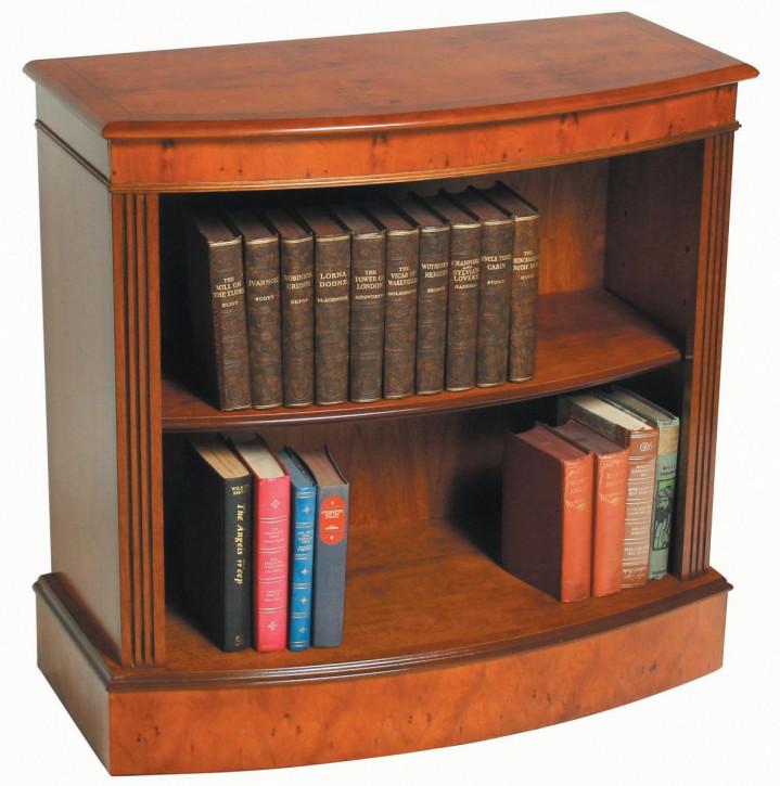 Niedriges Mahagoni Bücherregal mit gebogener Front