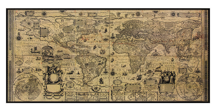 Karte Antique World Wall Map, Kunstdruck