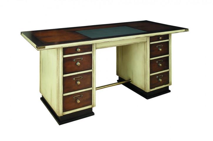 Antiker Schreibtisch Kapitäns Schreibtisch Bürotisch Elfenbein