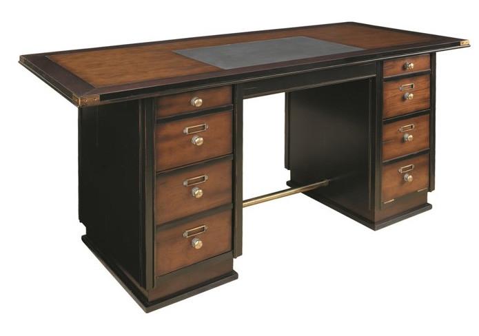 Captain's Schreibtisch special mit Lederschreibfläche, schwarz