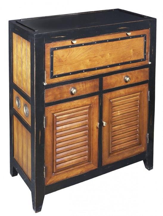 Antike Cade Cod Kommode Schreibtisch aus Massivholz, schwarz