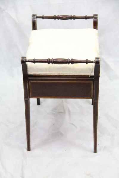 Edwardian Mahagoni Klavier Stuhl