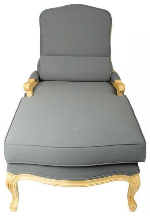 Französische Chaise Longue Blau-Weiß
