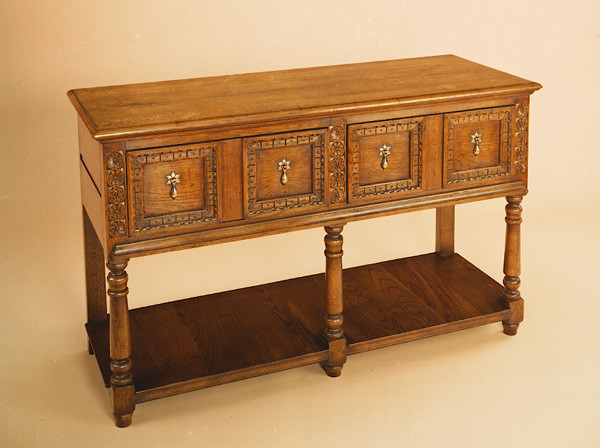 Joined Open Low Dresser - Carved Drawer