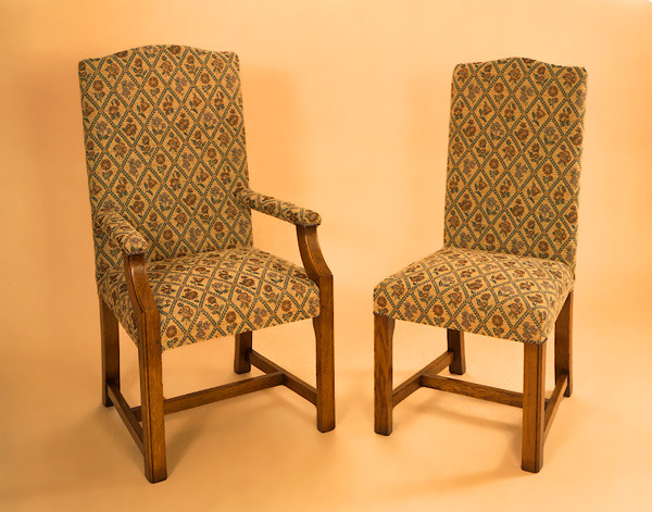 Upholstered Square Leg Chair - Side
