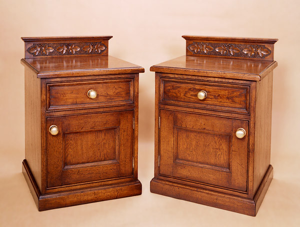 """Enclosed Bedside Cabinet - Carved"""