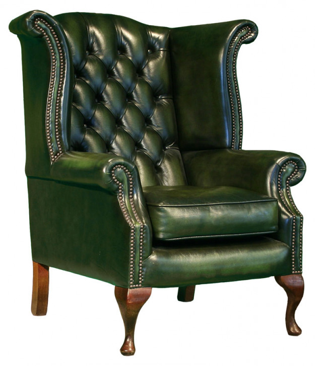 Abbey Scroll Wing Chair Handpatiniert