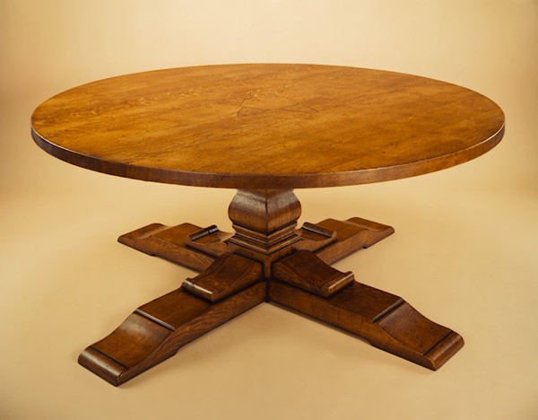 Round Table - Square Column - Cross Base  Tisch Rund