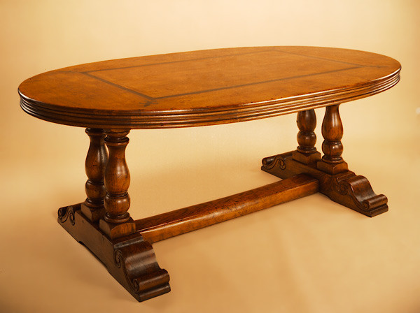 Refectory Table - Inlayd Oval Top - Twin Column