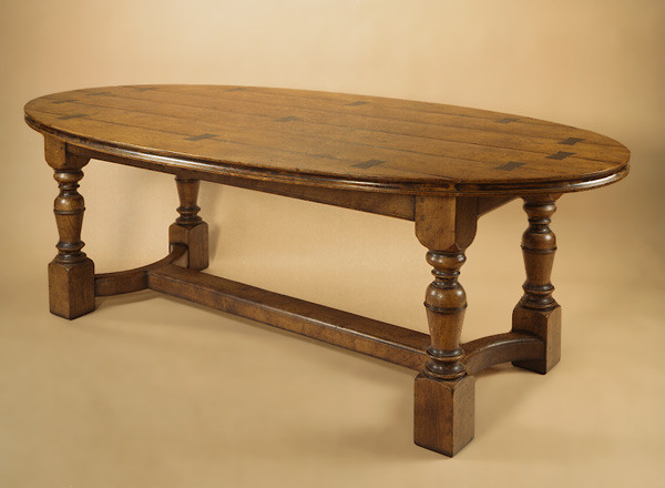Oval Table Burr Elm - 4 Leg Exposed Dovetails