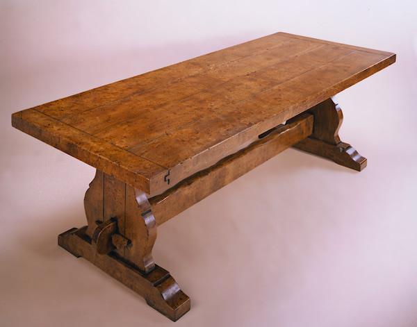 Dining Table - Burr Elm - Trestle End