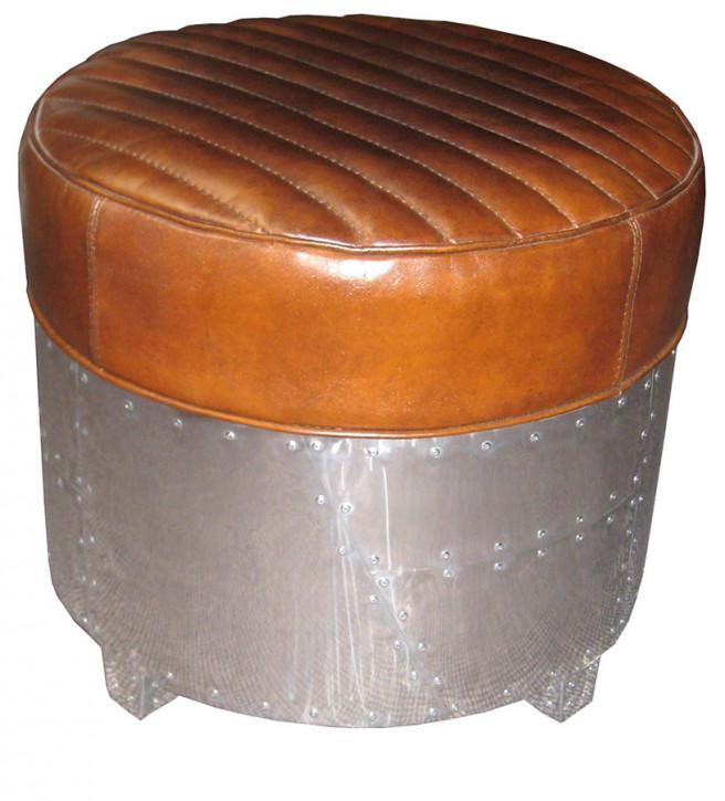 Hocker Stuhl Alu und Leder Vintage rund