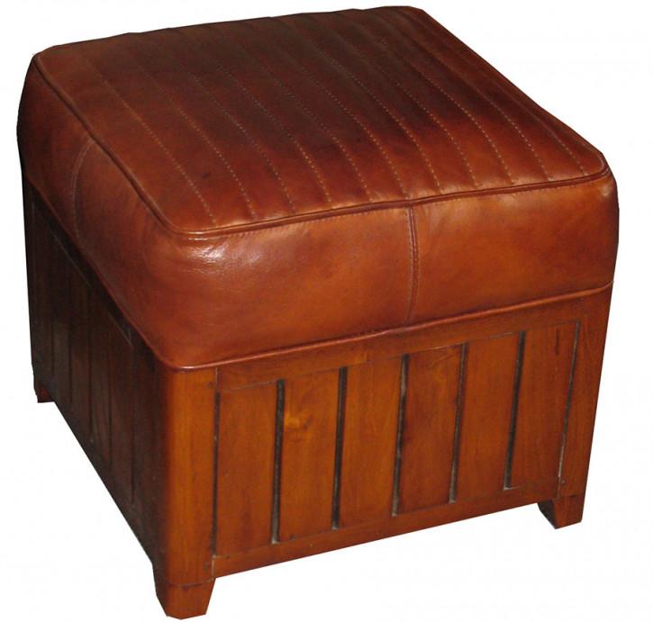 Hocker Stuhl Fussteil Leder Vintage eckig