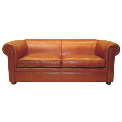 """London Classic"" original Chesterfield Sofa glatt 2-Sitzer Echtleder"