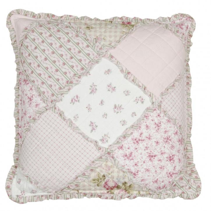 Kissenhülle weiß/rosa 50x50 Patchwork