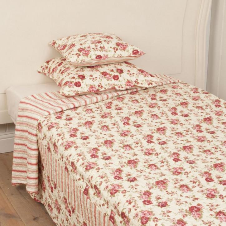 "Tagesdecke ""Blumen Rot"" 140 x 220"