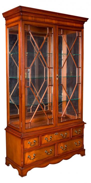 Display Cabinet Aufsatzvitrine mit Schubladen in Eibe