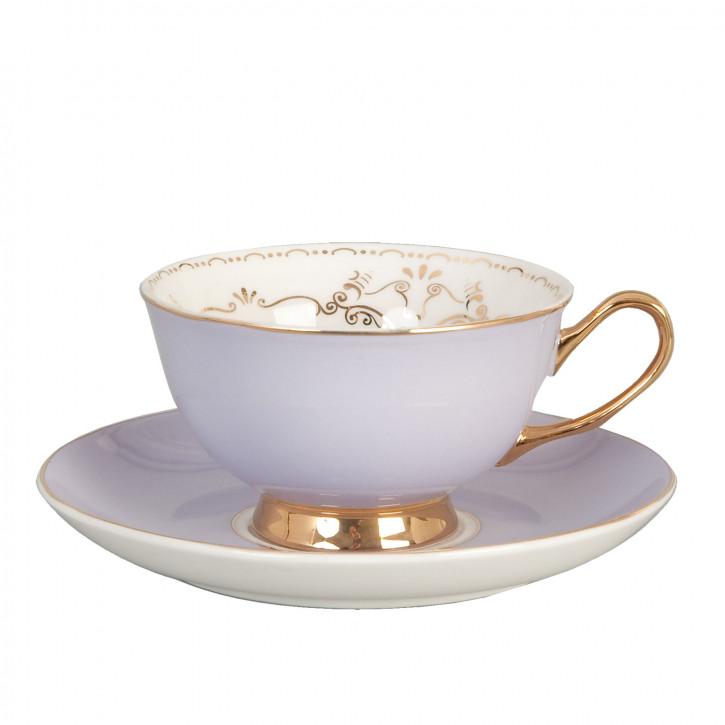 Kaffeetasse Tasse mit Untertasse lila mit Goldrand und Rose