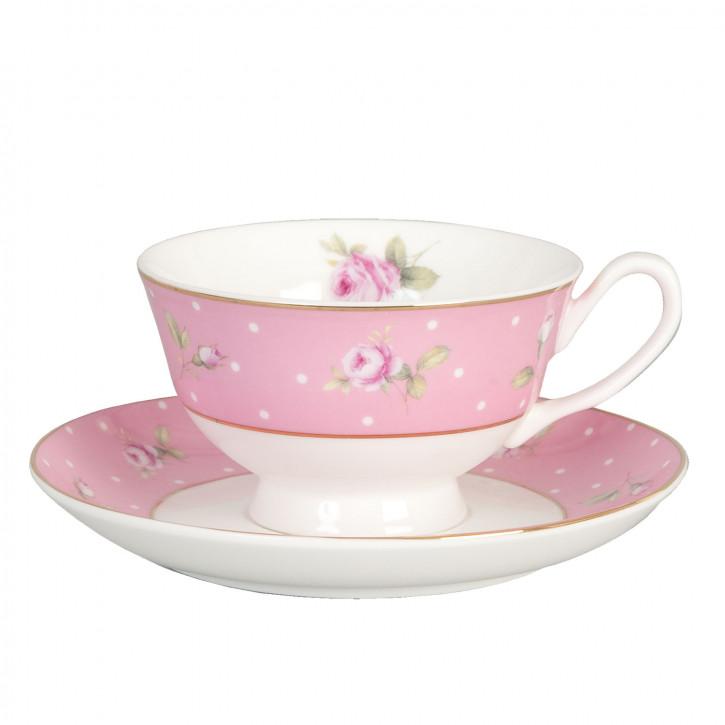 Kaffeetasse Tasse mit Untertasse Rosa