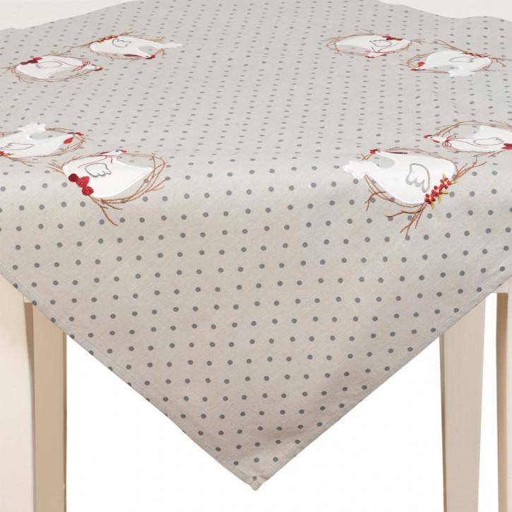 Tischdecke Hühner gepunktet grau ca. 85 x 85 cm
