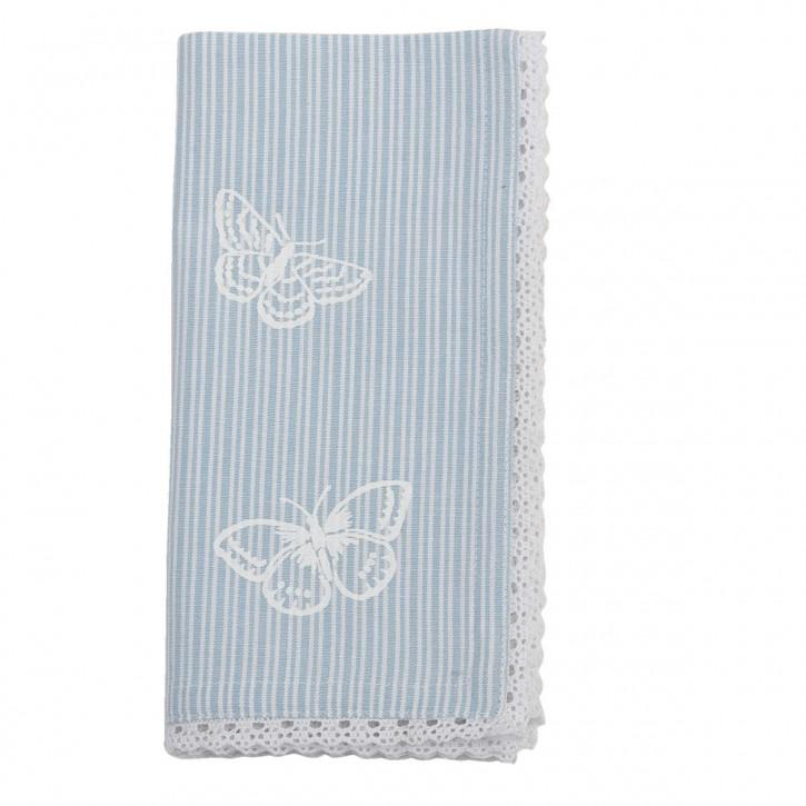 """Servietten """"Stripes and Butterflies"""" 6 Stück Blau"""