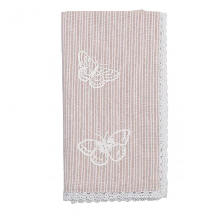 """Servietten """"Stripes and Butterflies"""" 6 Stück Pastel Rot"""