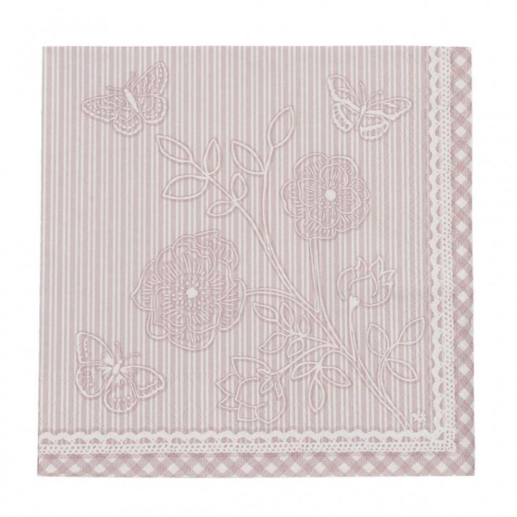 20 Stripes and Butterflies Papierservietten Rosa ca. 33 x 33 cm