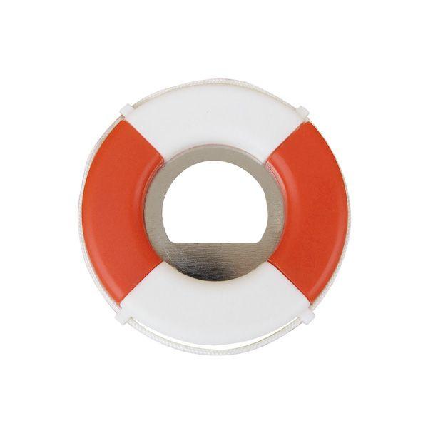 Flaschenöffner - Rettungsring, rot/weiß, Kunststoff/Eisen, Ø: 7cm
